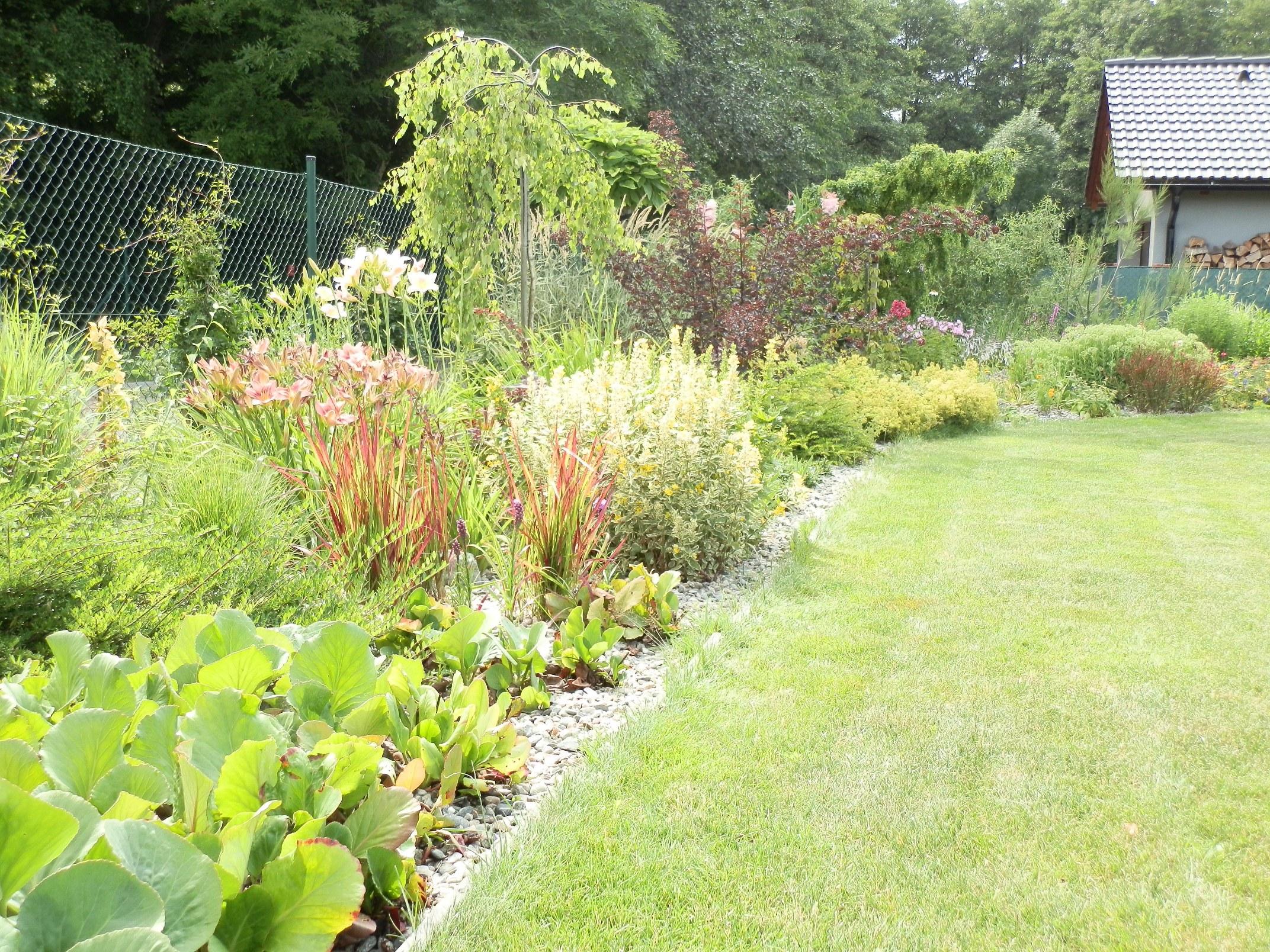 Výhled na nejníže položený kout naší zahrady. Dlouho jsem přemýšlela, jak zde vyřešit věčně podmáčenou půdu po velkých deštích. Nakonec se povedlo a jedním z opatření byla právě vyvýšená výsadba .-)